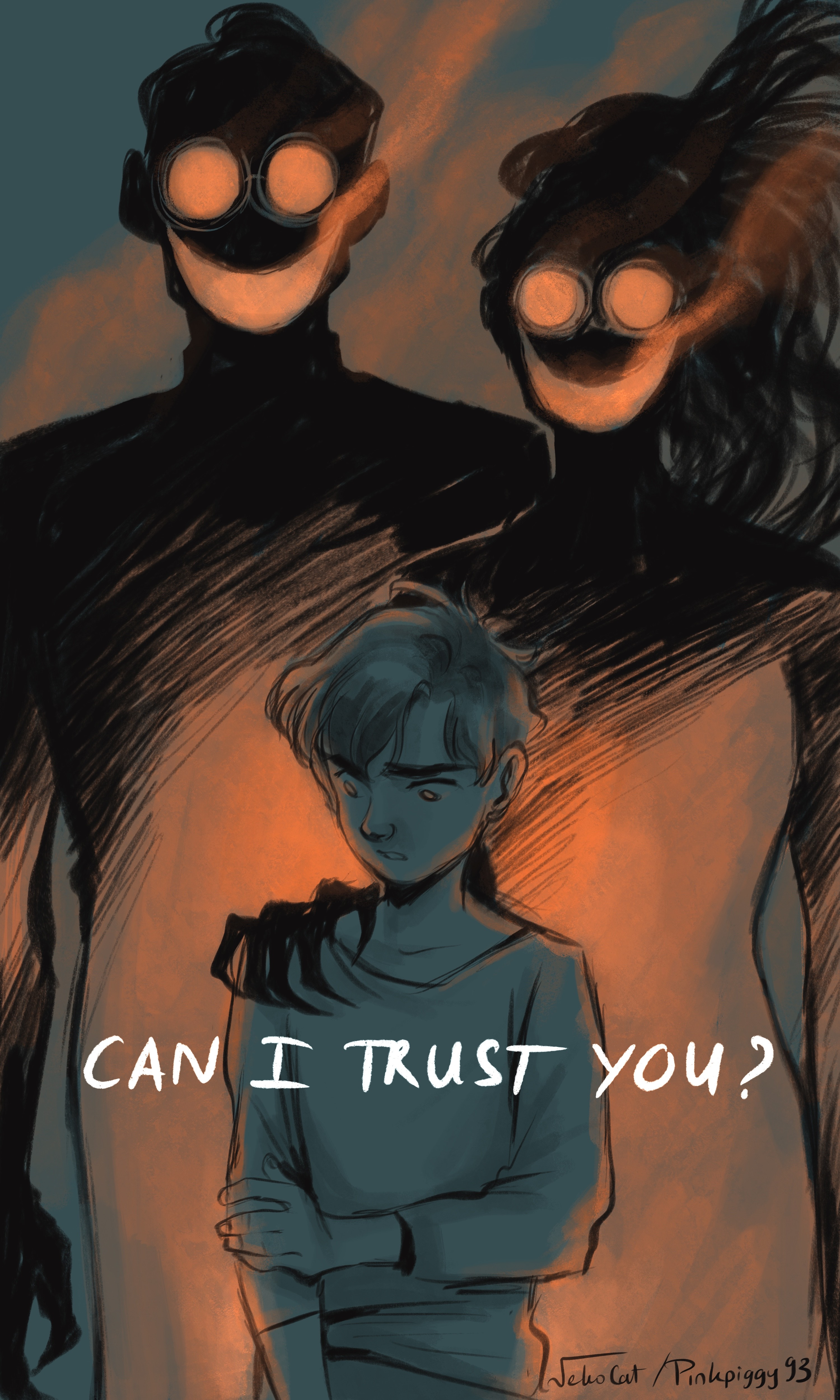 "Two creepy smokey shadows loom over a child. White text reads ""Can I trust you?"""