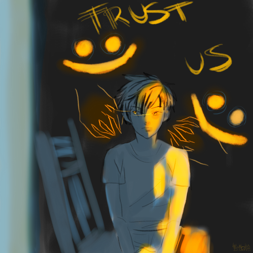 "A  child sits in a chair with lurking shadows behind saying ""trust us"""